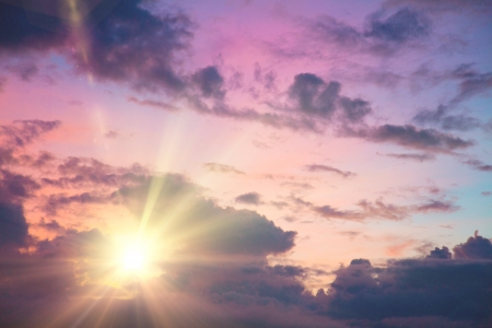 hdri: Sunset  sunrise with clouds, light rays and other atmospheric effect