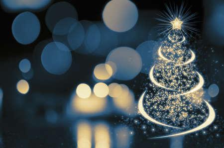 season's greeting: Shinny Christmas Tree, abstract background