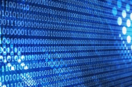 デジタル画面で青い抽象バイナリ コード 写真素材