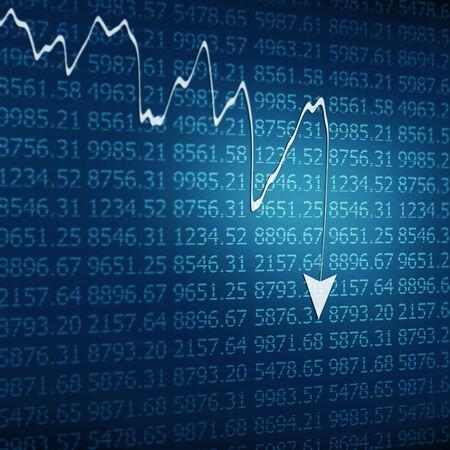 market crash: Stock Market - Arrow Graph Going Down on Blue Display