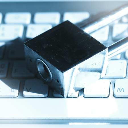 banking problems: A padlock on keyboard. Data security and protection. Stock Photo