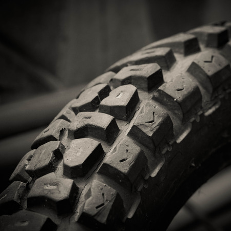 Tyre of motocross bike photo