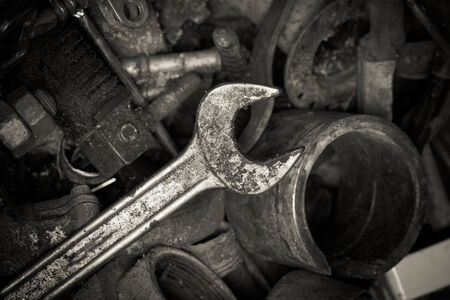 unwanted: Rusty spanners Stock Photo