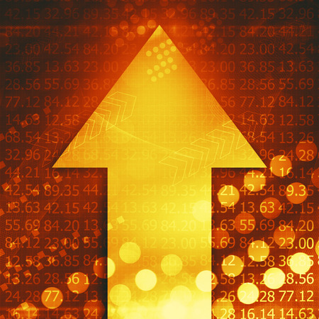 up and down: Electronic stock numbers and arrow