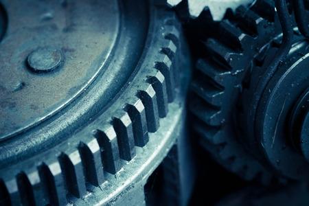 interlocked: Closeup of metal  gears