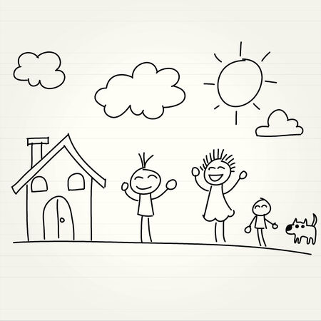 cartoon house: Hand Drawn of house and children