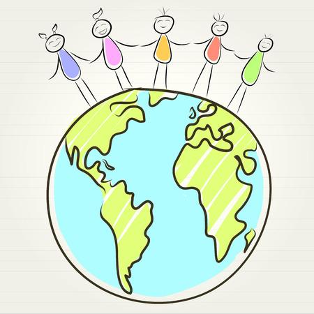 kids and globe concept , vector illustration illustration