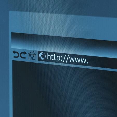 address bar: Closeup of Computer Screen With Address Bar of Browser