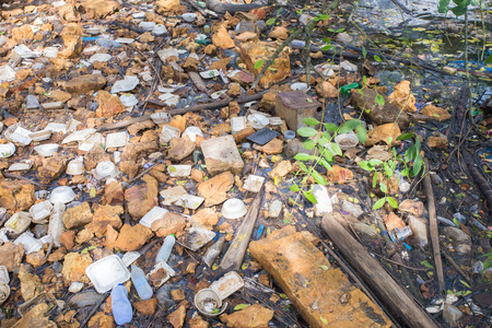 sea pollution: A large amount of trash polluting our waters
