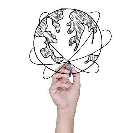 hand drawing a world map over white background photo