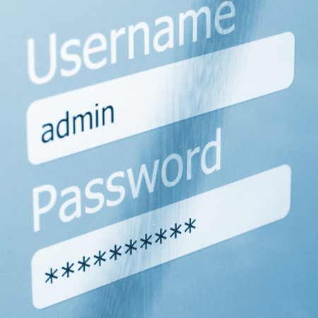 computer security: Login Box - Username and Password in Internet Browser on Computer Screen