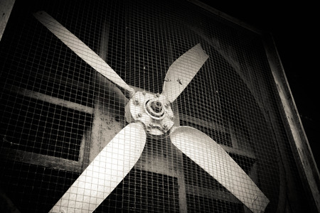 Old dirty ventilation fan Stock Photo