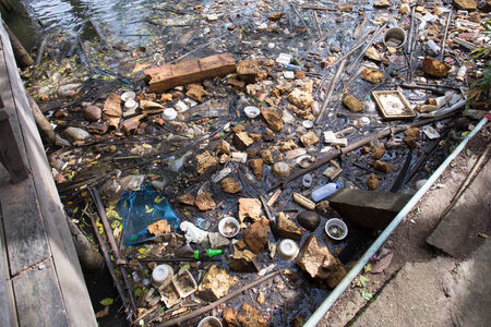 polluting: A large amount of trash polluting our waters