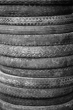 contaminate: lot of wheel tires of motorcycle use Stock Photo