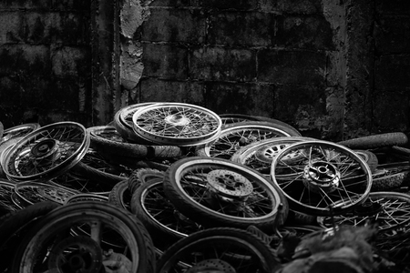 stockpiling: lot of wheel tires of motorcycle use Stock Photo