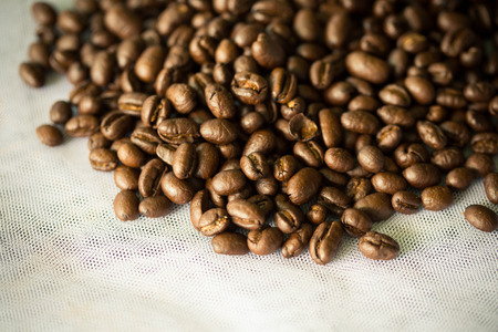 coffee grains: Coffee grains on white cloth