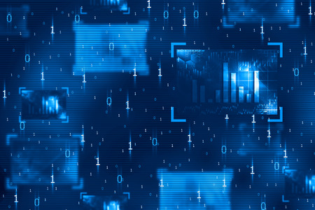 abstract binary code on digital screen Stock Photo