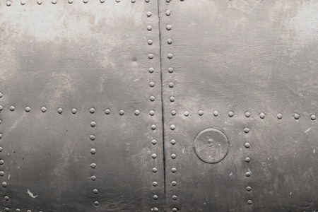 aluminum plate: riveted metal from aircraft