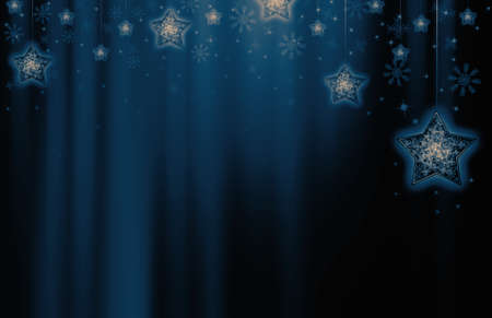 hush hush: Festive dark blue Christmas background with stars Stock Photo