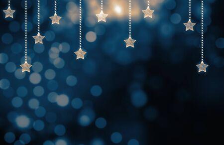 Festive bleu foncé fond de Noël avec des étoiles