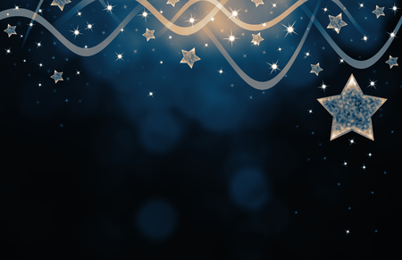 inviting: Festive dark blue Christmas background with stars Stock Photo