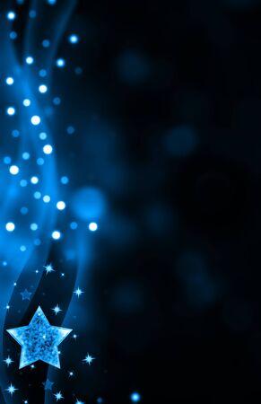 stars  background: Festive dark blue Christmas background with stars Stock Photo