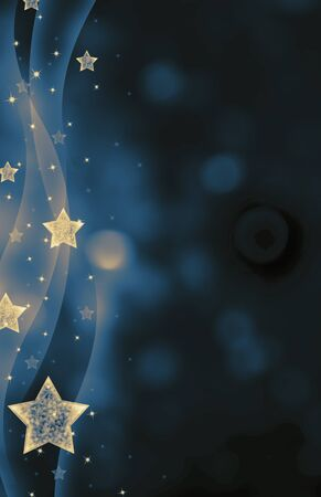 magical: Festive dark blue Christmas background with stars Stock Photo