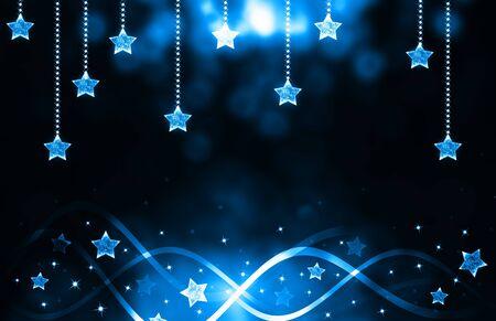 blue christmas background: Festive dark blue Christmas background with stars Stock Photo