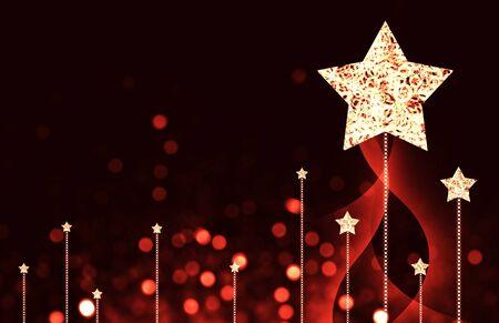 christmas star: Festive dark blue Christmas background with stars Stock Photo