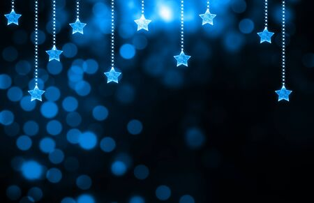 blue light: Festive dark blue Christmas background with stars Stock Photo