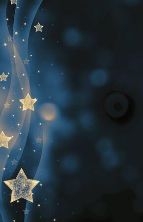 christmas blue: Festive dark blue Christmas background with stars Stock Photo