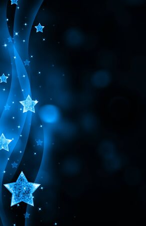 backgrounds: Festive dark blue Christmas background with stars Stock Photo