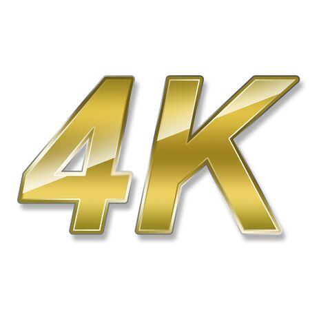 definicion: 4K logotipo de la tecnología de la televisión de ultra alta definición