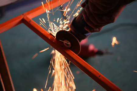 working man: cutting metal