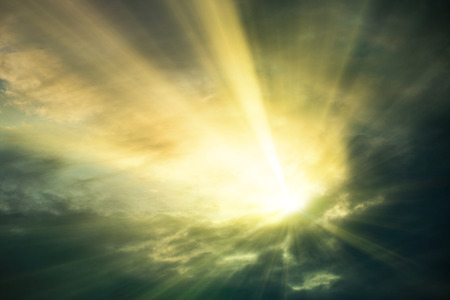 spiritual background: Sunset  sunrise with clouds, light rays and other atmospheric effect