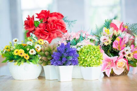 vase: Colorful decoration artificial flower