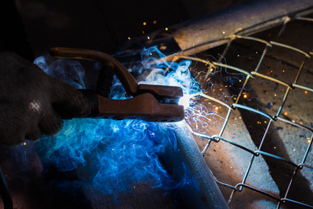 improvisation: welding metal and sparks Stock Photo