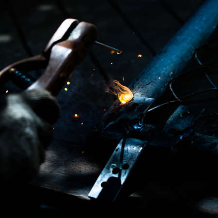 sparks: welding metal and sparks Stock Photo