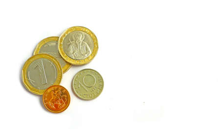 Photo depicts the Bulgarian currency, isolated on a white background. Close up. Stock Photo