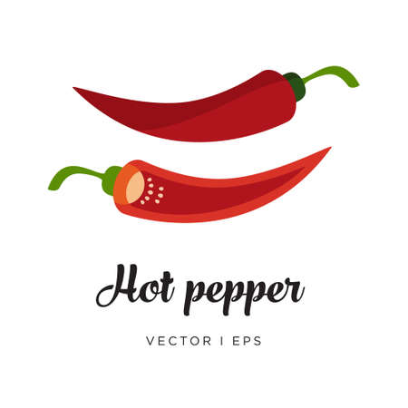 Red hot spicy chili pepper and a half of paprika with seeds, vector editable illustration. Simple flat style.