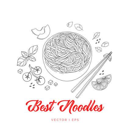Croquis de nouilles végétales japonaises vectorielles dessinées à la main, à base de tomate, d'avocat au basilic, de citron vert et de sésame. Cuisine asiatique végétarienne, dessin simple à l'aquarelle, décoration de menu.