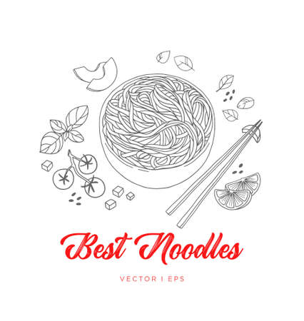 Hand drawn vector Japanese vegetable noodles sketch, made of tomato, basil avocado, lime and sesame. Vegetarian Asian food, simple watercolor drawing, menu decoration. Illustration