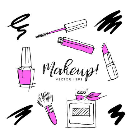 Hand drawn vector sketch, make up accessories, lipstick, abstract perfume, nail polish, makeup brush, mascara. Isolated on the white background.