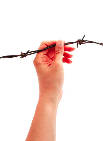 Prisoners hand, holding a barbed wire fence, isolated on white. Restricted area, freedom struggle, jail prison terror, jailbreak concept.