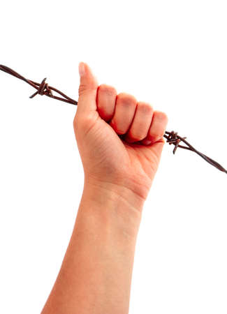 Prisoners hand, holding a barbed wire fence, isolated on white. Restricted area, freedom struggle, jail prison terror, jailbreak concept. Imagens - 133371605
