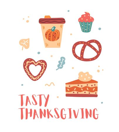 Vector thanksgiving day clipart with coffee, pumpkin, muffin, pumpkin pie, gingerbread and bagel. Tasty things. Tasty thanksgiving. Card, banner, print.