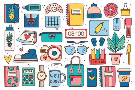 Back to school big clip art, set of elements, stickers. Office stuff, stationery. Notebook, glasses, bag, pen, marker, plant, lap top, clock, coffee, accessory, device, decor. Colorful doodle design.