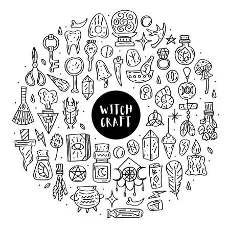 Witchcraft cute vector doodle hand drawn big clip art, set of design elements, icons, stickers. Black line art design. Isolated on white background. Easy to change color. Different witch magic staff.