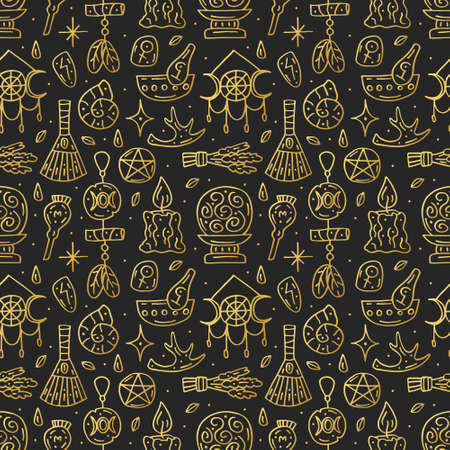 Witchcraft cute vector doodle hand drawn seamless pattern, background, texture. Isolated on dark background. Different magic tools, equipment. Alchemistry, talismans, plants. Elegant golden design. Illustration