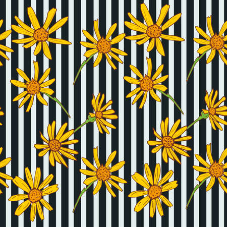 Seamless chamomile pattern with white daisies on striped background. Vector illustration. Illusztráció